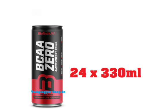BioTech USA BCAA Zero Energy Drink 24 x 330ml Himbeere - Limette (4,41€/l)