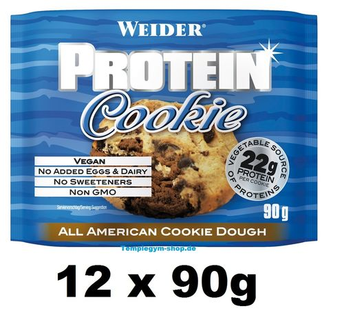 Weider Protein Cookie 12 x 90g Box American Cookie Dough (233,22€/Kg)